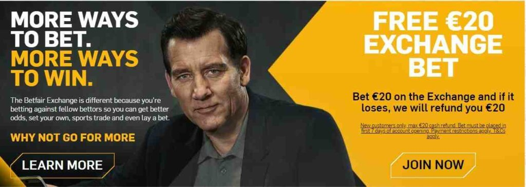 Betfair Promo Code Bonus Offer - Free €20 exchange bet - Bet €20 on the Exchange and if it loses, we will refund you €20 - Clicking on this image will take you to betfair's website - Terms and conditions apply - Read more below
