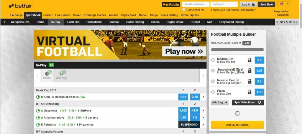 Betfair In Play Gaming