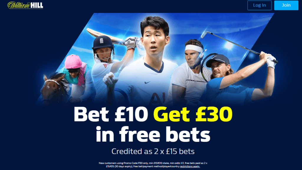 William Hill Promo Code Ireland Offer - Bet £10 Get £30 in free bets - Credited as 2 x £15 bets - Terms and conditions apply - Read above